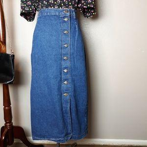 Vintage 90s button down denim midi skirt